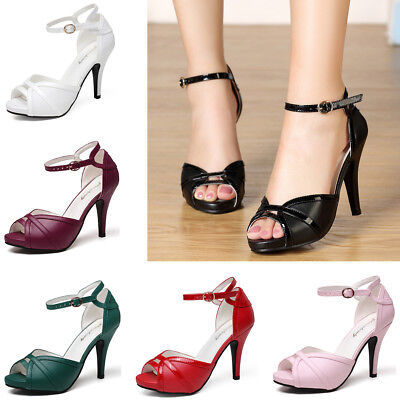 Women Open Toes High Heel Sandals Ankle Strapps Dress Buckle Lace Up Party - Buckle High Heel Pump Shoe