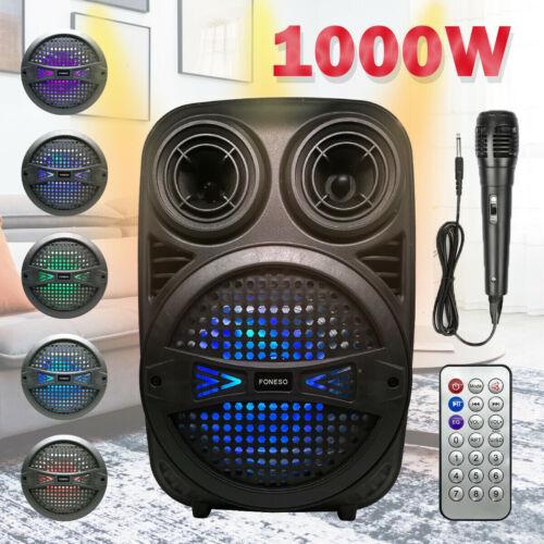 FONESO Wireless Party Bluetooth Speaker PA Subwoofer Heavy Bass Sound FM 1000W