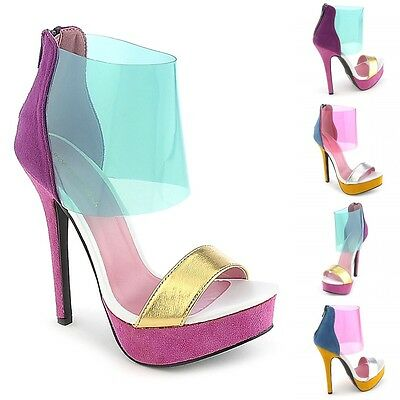 Ankle Cuff Pumps - Metallic Open Toe Clear Ankle Cuff Stiletto High Heel Platform Pumps Size H162
