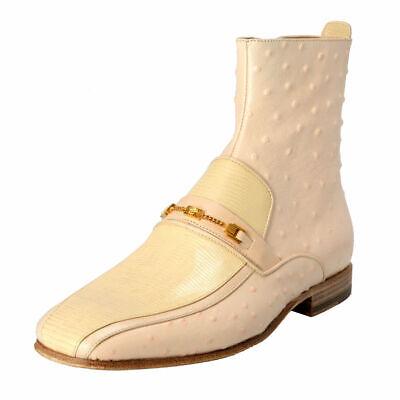 Beige Ostrich (Versace Men's Beige Ostrich Skin Leather Ankle Boots Shoes Sz 6 8 9 10 12 13)