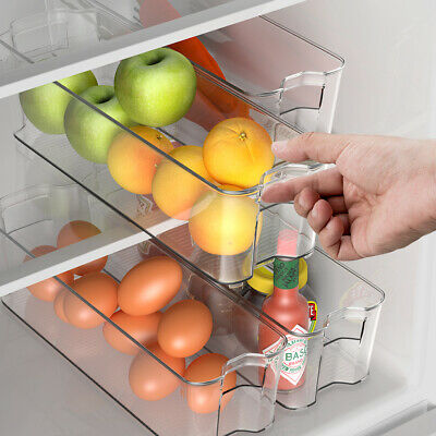 Set of 4 Refrigerator Organizer Bins Stackable Kitchen Pantry Cabinet w/ Handle