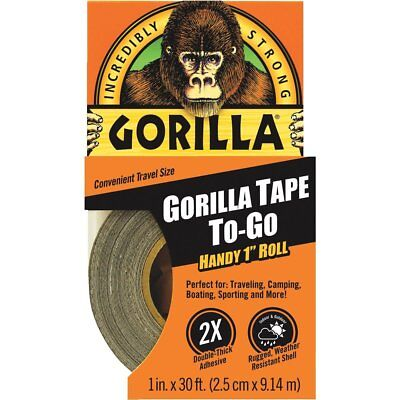 Gorilla 1 In. X 30 Ft. To-go Heavy-duty Duct Tape Black - New - Free Shipping
