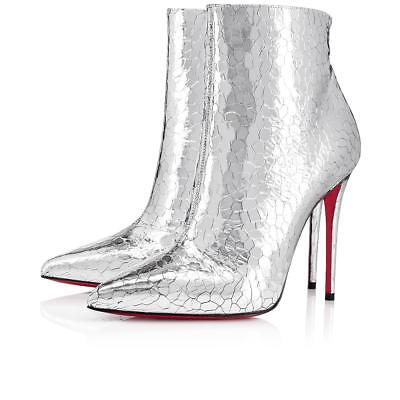 NIB Christian Louboutin So Kate Booty 100 Silver Martele Heel Ankle Bootie 38