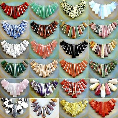 Gemstone 9pcs Graduated Pendant Stick Beads Set For Necklace Jewelry Design