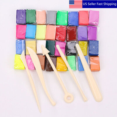 32 Color Oven Bake Polymer Clay Block Moulding Modelling Scu