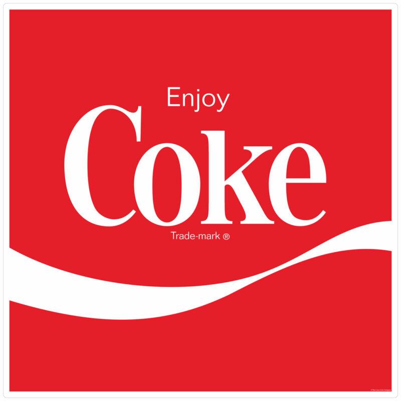 Coca-Cola Enjoy Coke Wave 1980s Style Decal 24 x 24 Vintage Style Decor