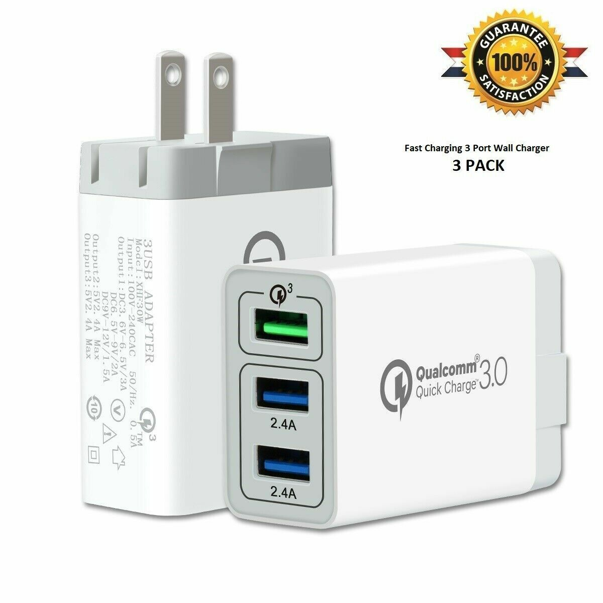 USB Fast 3 Port Wall Charger Plug Power Adapter - iPhone iPa