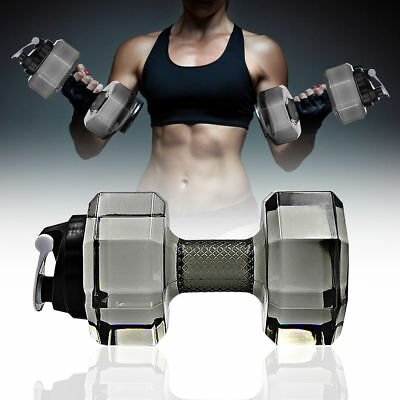Large Water Bottle Sports Dumbbells Running Fitness Kettle Gym 2.2L PETG Gray US