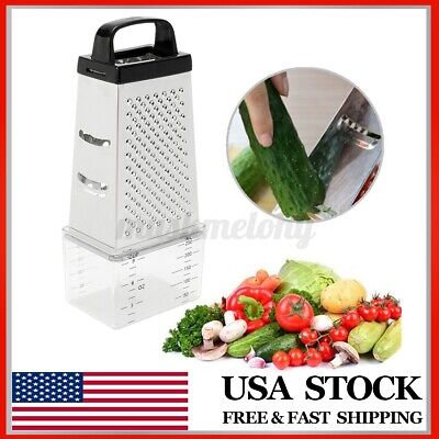 4 Sided Stainless Steel Manual Vegetable Cheese Grater Box w