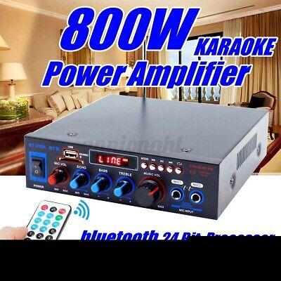800W Audio Estéreo bluetooth Amplificador Coche Hogar Música HiFi MP3 USB FM