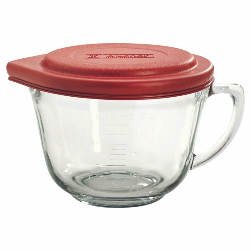 Anchor Hocking Glass Batter Bowl with Red Plastic Lid, Measuring spoon 2 Quart