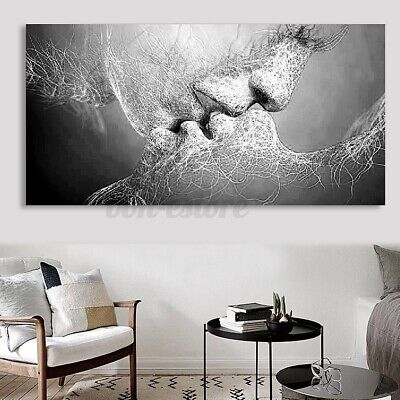 Black & White Abstract Art Love Kiss Canvas Painting Print Poster Picture  S