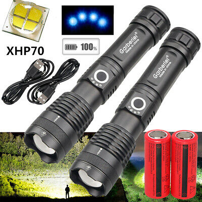 990000LM Zoomable 5 Modes XHP70 LED 18650 26650 Flashlight USB Rechargeable Lamp