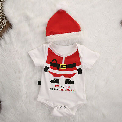 Santa Short Sleeve Romper Bodysuit Costume with Hats Outfits for Baby Girls Boys - Santa Outfits For Girls