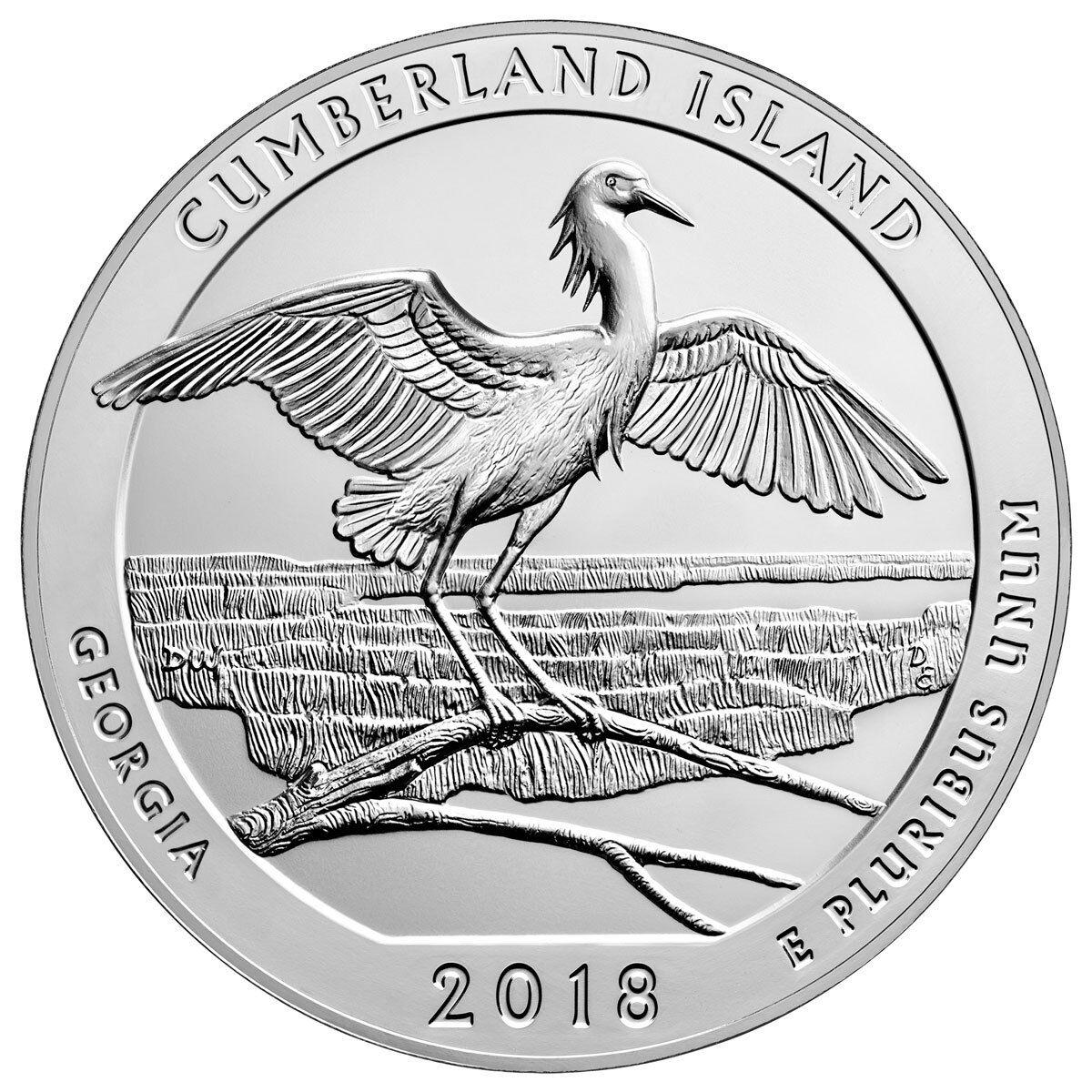 2018 Cumberland Island 5 oz. Silver ATB Beautiful Coin GEM BU SKU49860