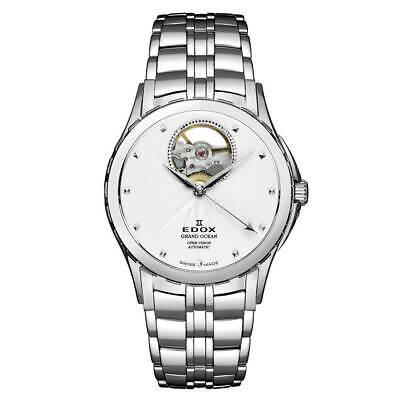 Edox Women's Watch Grand Ocean Open heart White Dial Bracelet 85013 3 AIN
