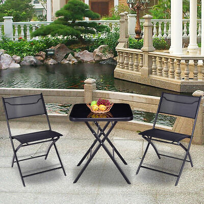 Outdoor Patio 3PC Folding Square Table And Chair Suit Set Garden Bistro - Square Bistro Table Set