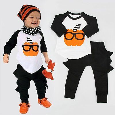Halloween Clothes Kids (2PCS Toddler Baby Kids Boy Halloween Outfits Clothes T-shirt Tops+Long Pants)
