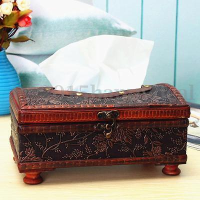 Holz Kosmetiktücherbox Taschentuchspender Tissuebox Kosmetiktuch Spender Retro