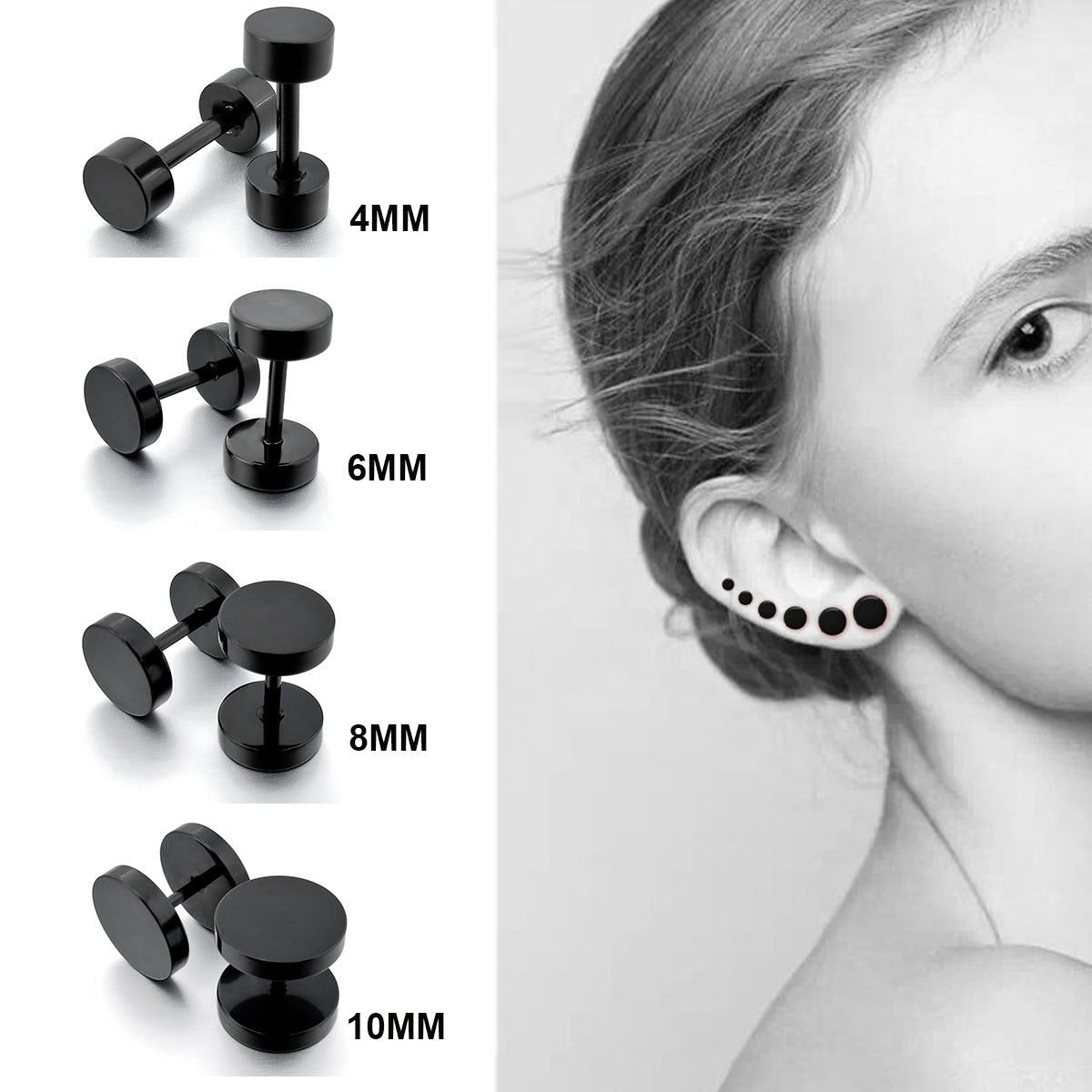 Punk Round Barbell Dumbbell Men's Women's Stainless Steel Ear Stud Earrings US Earrings