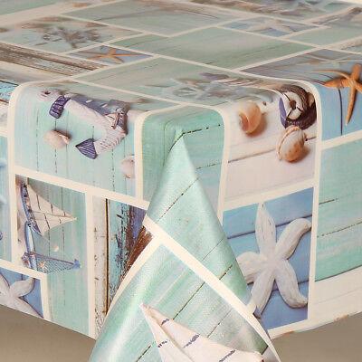 Blue Beach Seaside Prints Pvc Vinyl Table Cloth Protector Patchwork Boats Stars ](Beach Table Cloth)