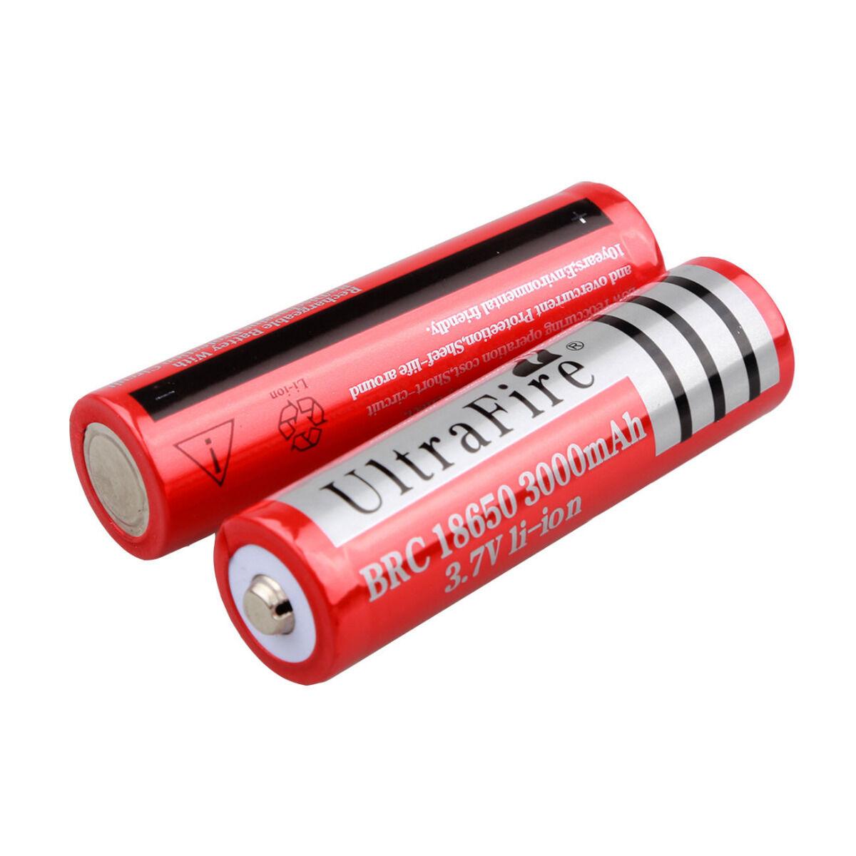 2pcs 3.7V 3000mAH Rechargeable Red Li-ion Lithium 18650 Batt