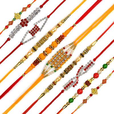 Rakhi Set of 10 pc Designer Rakhi combo   Roli Tilak Pack   Rakhi For Brother