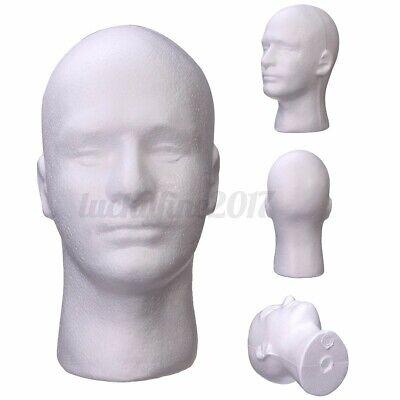 Male Mannequin Styrofoam Foam Manikin Head Model Glasses Wig Hat Display Stand