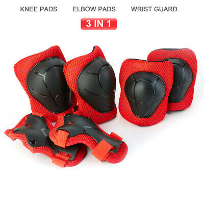6x Skating Protective Gear Set Elbow Knee Pads Bike Skateboard For Kid Red US