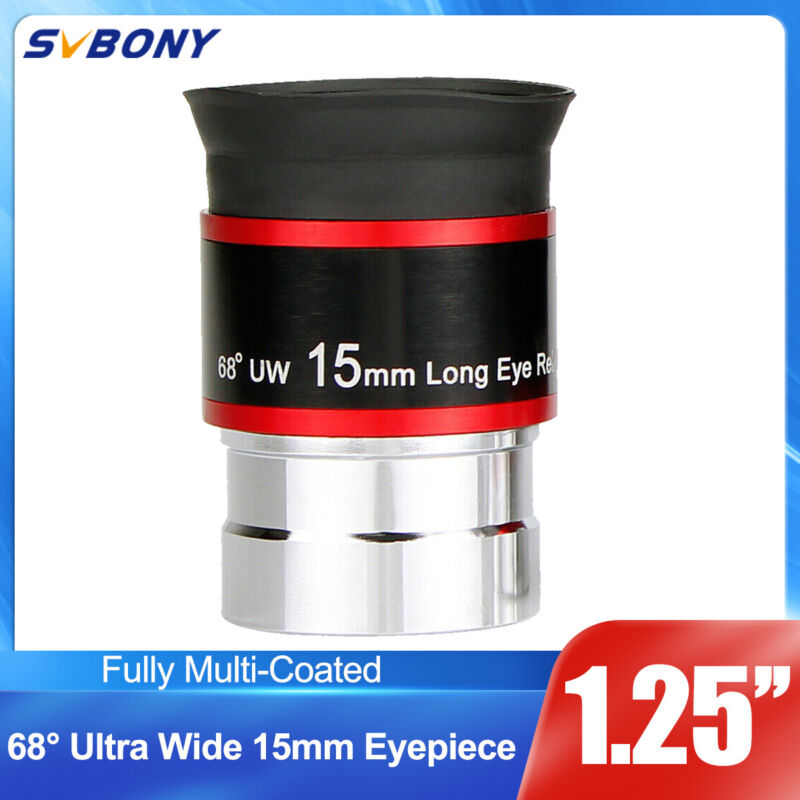 "SVBONY Eyepieces FMC Broadband 1.25"" Filter Thread 68-Degree Ultra Wide 15mm"
