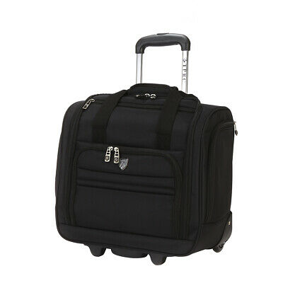 New Tprc 16' Rolling Underseat Carry-on Luggage Black And Pu