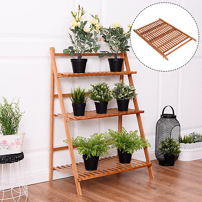 3 Tier Outdoor Bamboo Flower Pot Shelf Stand Folding Display Rack Garden Yard