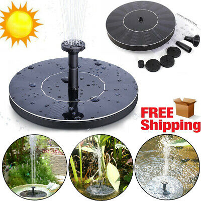 Bird Bath Fountain Solar Powered Water Pump Floating Outdoor Pond Garden Decor  ()