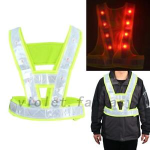 LED Light Safety Vest with Reflective Stripes Useful US Local