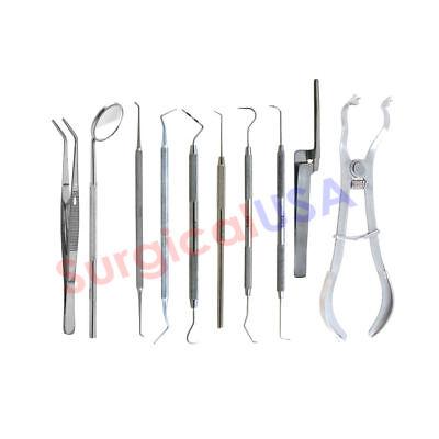 Basic Kit Of 11 Endodontic Dental Instruments Explorers Probes Cotton Pliers