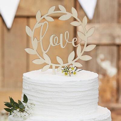 Tortendekoration Love Holzkranz natur - Hochzeit Tortenfigur Vintage Cake Topper