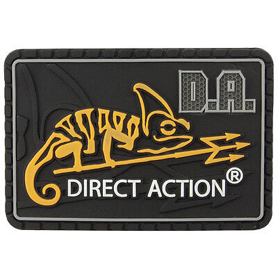 DIRECT ACTION MEDIUM TACTICAL RUBBER LOGO SECURITY PATCH PVC BADGE BLACK