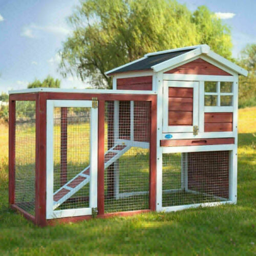 Wooden Rabbit Hutch Cage House Habitat Animal Pet Small Chicken Coop Outdoor