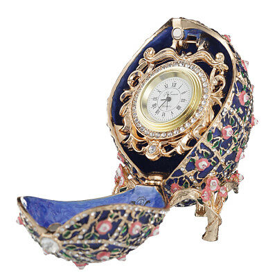 Russian Rose Trellis Faberge Egg / trinket jewel box with clock 3.8'' 9,5cm blue, used for sale  Shipping to United States