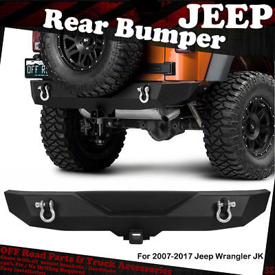BLACK TEXTURED HEAVY DUTY REAR BUMPER FOR 2007-2018 JEEP WRANGLER JK REAR GUARDS