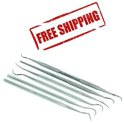 6 Pieces Dental Tooth Pick Pic Probe Set Kit Stainless Steel Knurled Handle