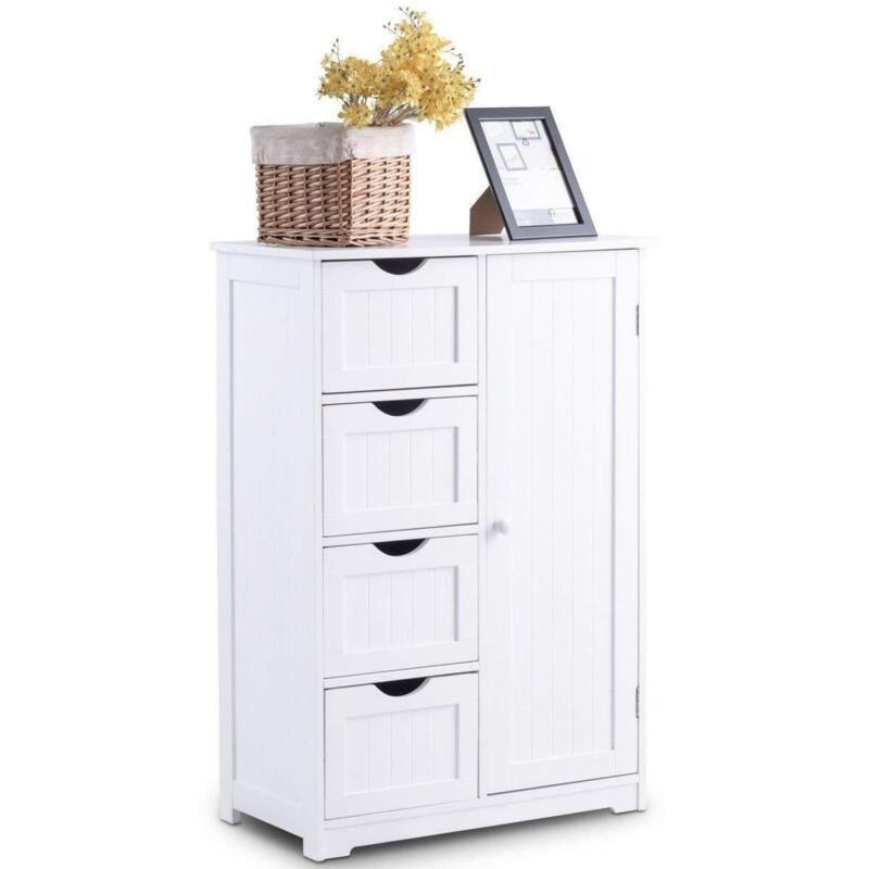 Floor Bathroom Cabinet 4-Drawers Dresser Chest of Drawers Storage Organizer