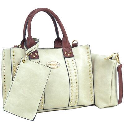 Dasein 3pcs Women Handbags Faux Leather Satchel Tote Shoulder Bag Studs Purses