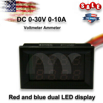 Red Blue Led Dual Digital Voltmeter Dc 0-30v 0-10a Car Us