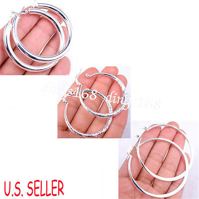 3 pr 925 Sterling Silver Classic Large Light Weight Smooth Shiny Hoop Earrings