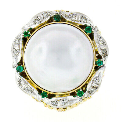 Used, Handmade 14K Gold Mabe Pearl Diamond & Emerald Twisted Wire Large Cocktail Ring for sale  Montclair