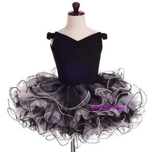 2pcs-Girls-Off-Shoulder-Cupcake-National-Pageant-Dress-Shell-Black-Sz-3-4-PT001