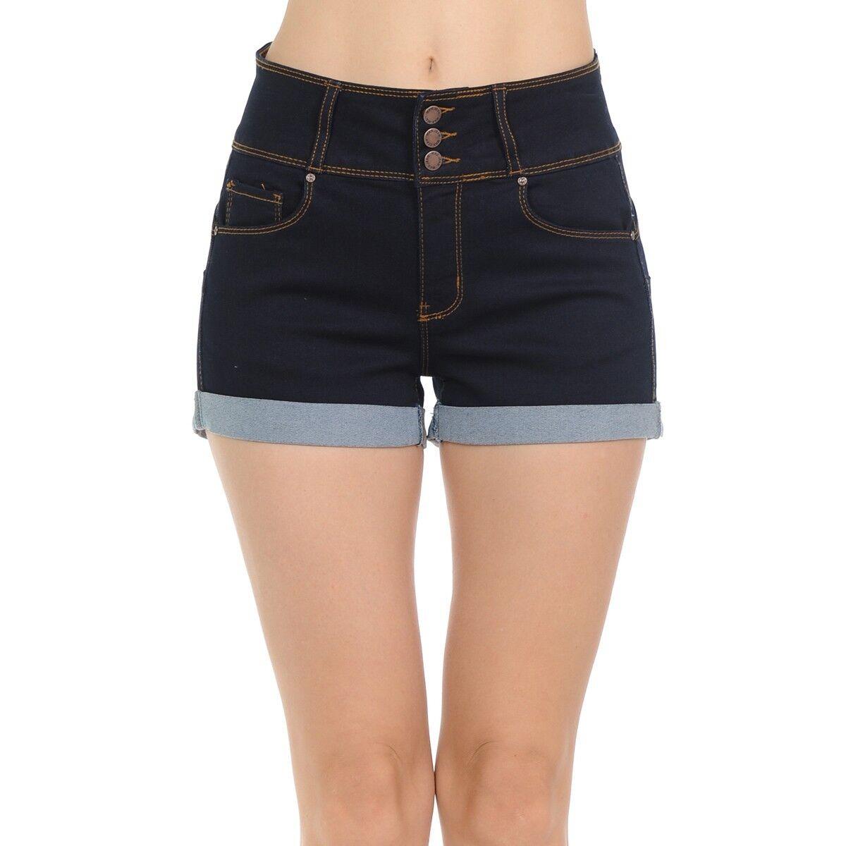Wax Women's Juniors 3 Button Mid Rise Denim Shorts - Black,