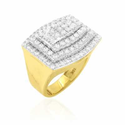 - 10k Yellow and White Gold 4Ct Simulated Diamond Pave Set Men's Signet Ring