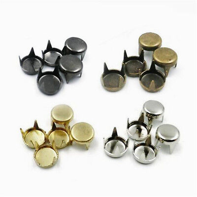 50/100PCS Round Flat Spike Bead 4mm-10mm Studs Rivet 4 Claw Leather Craft (Spike Claw)